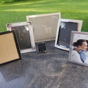 Set of 6 silver & crystal photo frames